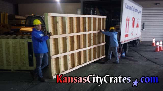 Building large industrial pallet on-site for shipping machinery