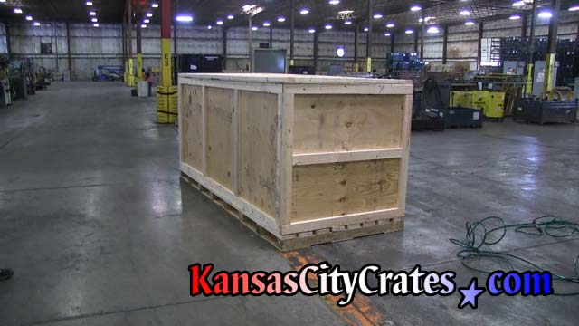 The quarters view of assembled industrial crate at automotive parts manufacture in Shawnee KS 66214