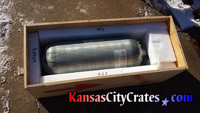Heavy foam packing for encasing fiberglass cylinder at Overland Park KS Fire Department
