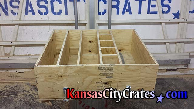 Custom crate with compartments and dividers for shipping scentefic instruments used for testing