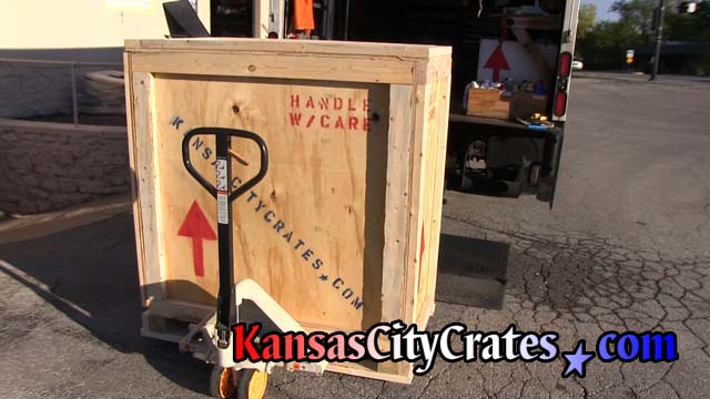 Heavy duty vault crate is brought to truck for local delivery