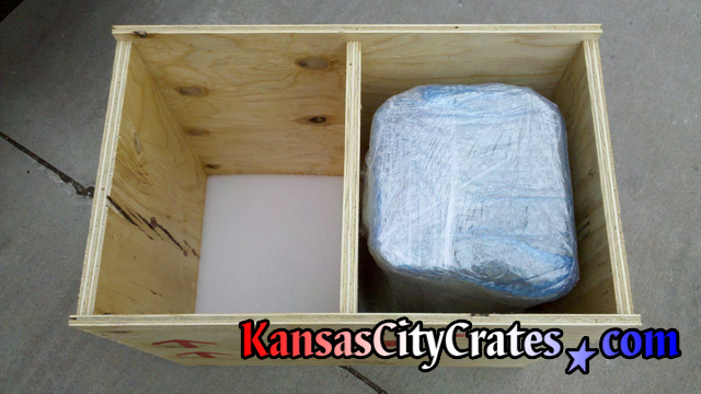 Marble pedestal in foam lined combo crate.