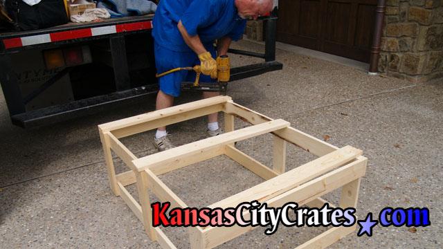 Pneumatic stapling open frame crate at home in Mission Hills KS 66208