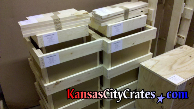 Empty domestic slat crates for marble statues at home in Independence MO  64050