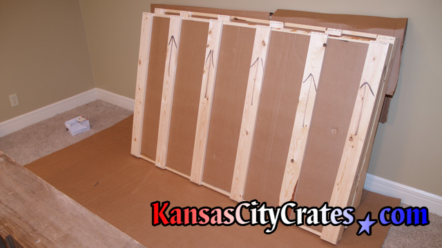 Dining room and patio glass table tops packed and domestic slat crate at home in Desoto KS  66018