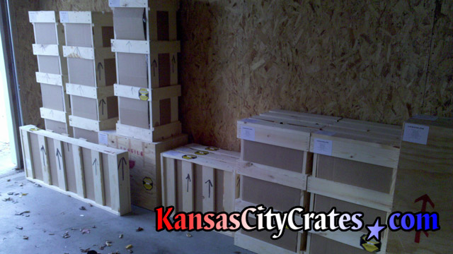 Crates with shock sensors on garage wall at home in Kearney MO  64060