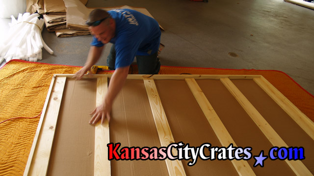 Packing domestic slate crate on blanket at home in Liberty MO  64069