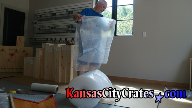 Plenty of bubble wrap is used when crating items for transport.