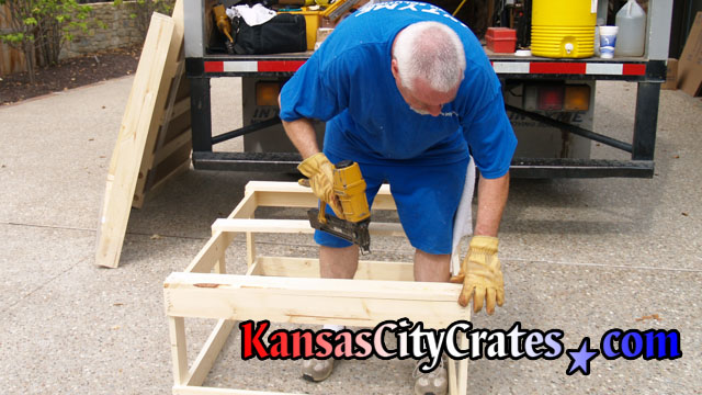 Fasteners of crate are spaced for effective strength of crate.