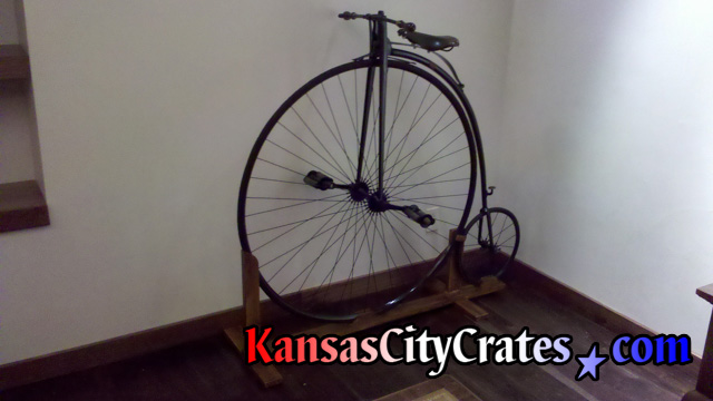 Original antique Hi-wheel (Penny-farthing) bicycle before crating.  circa 1884