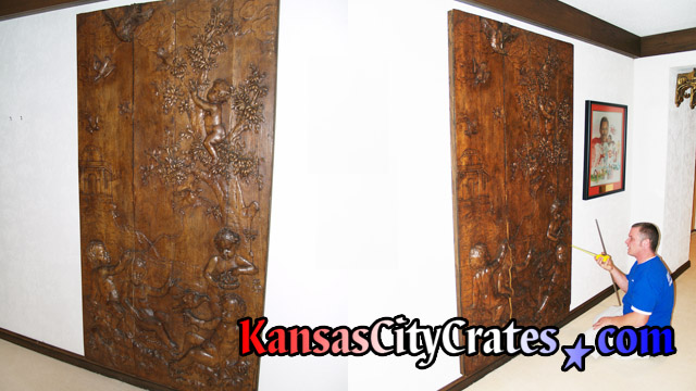 Hand carved wood Coat Of Arms hanging on wall in Kansas City Mansion. circa 1840