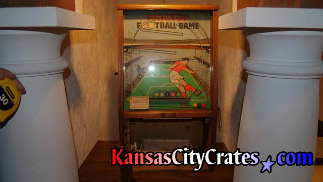 Circa 1957 coin operated Football game by Mastermatic Master Vending Machin Co LTD measured for crate.