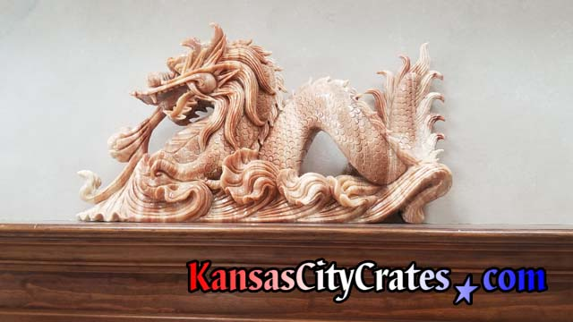 Finely carved Japanese Dragon in Reddish Marble