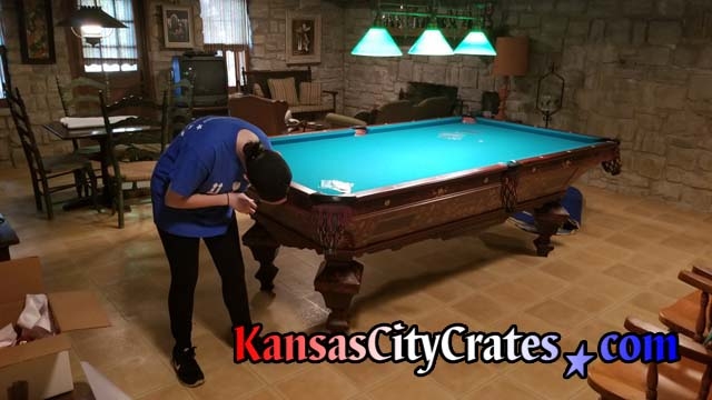 Crater begins disassembly of Brunswick-Balke-Collender 4 piece slate pool table