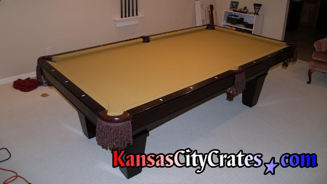 American Heritage Billiard Table with gold color playing cloth.