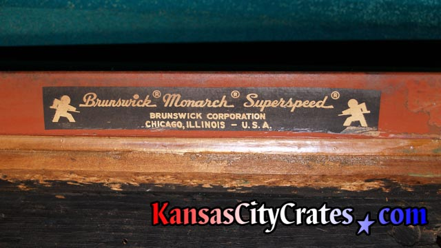 Antique Brunswick Monarch Superspeed cushion after felt is removed from rail.