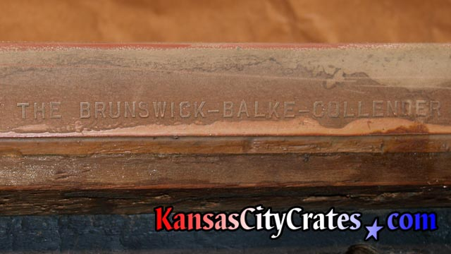 Watermark on bumper rubber from antique billiards table.