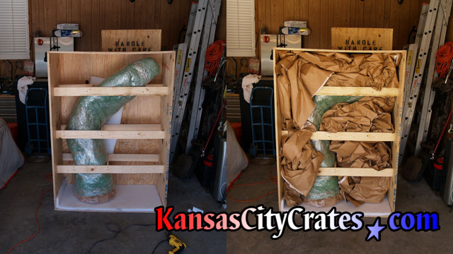 Side by side comparison photos of large bronze statue in export crate with packing and bracing for transport.