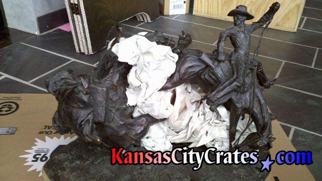 Frederic Remington Bronze western sculpture before crating.