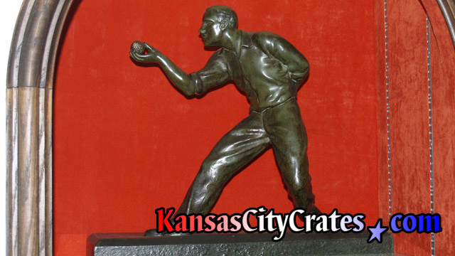 Before crating bronze sculpture of Bocce ball player Umberto Granaglia on shelf at mansion in Kansas City MO 64129.
