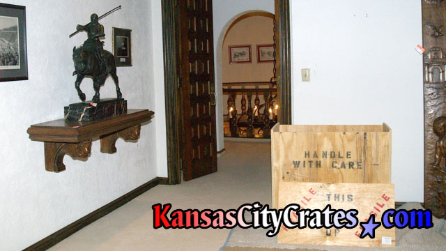 Indestructible Box Crate on flooring protection for Bronze sculpture of Maximilian I, Christian Knight & Holy Roman Emperor 1459-1519 at mansion in Kansas City MO 64129