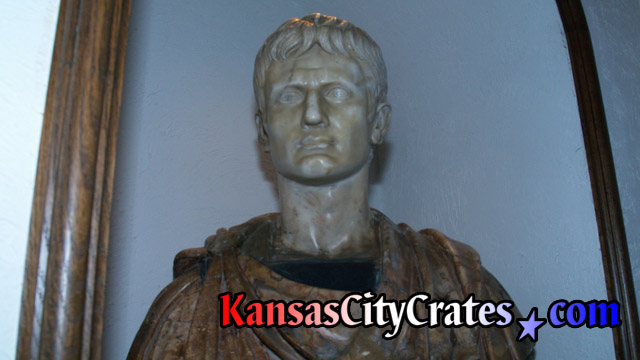 Marble bust sculpture of Imperator Caesar Divi F. Augustus from the movie set of Cleopatra starring Elizabeth Taylor and Richard Burton at mansion in Kansas City before packing into Indestructible box crate.