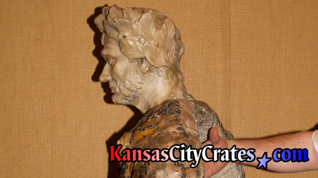 Measuring marble bust sculpture of Gaius Julius Caesar for packing and crating at mansion in Kansas City MO 64129