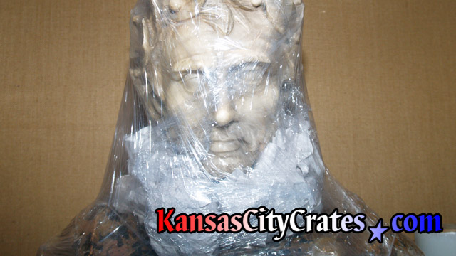 Packing head area of marble bust sculpture for indextructible box crate at mansion in Kansas City MO  64129
