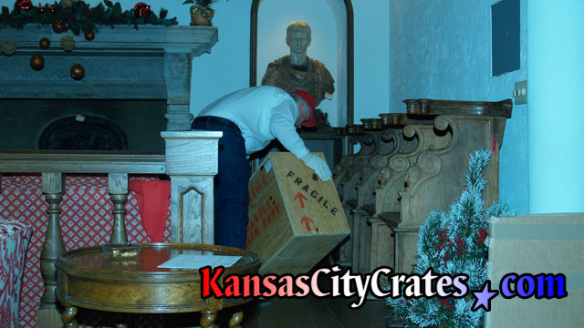 Moving Indestructible box crate for bust sculptures at mansion in Kansas City MO  64129
