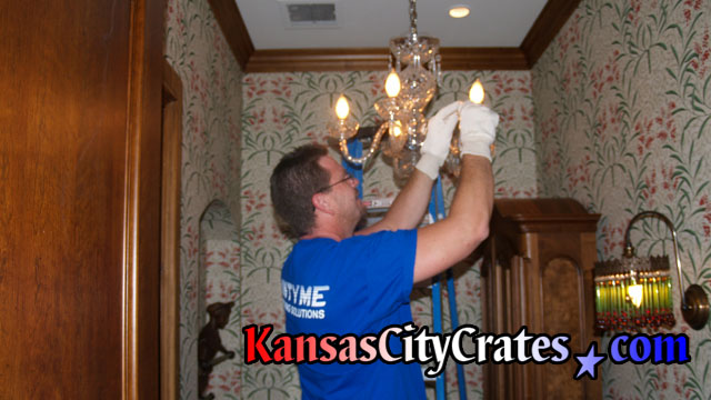 Undressing lead crystal chandelier at home in Knob Noster MO  65336