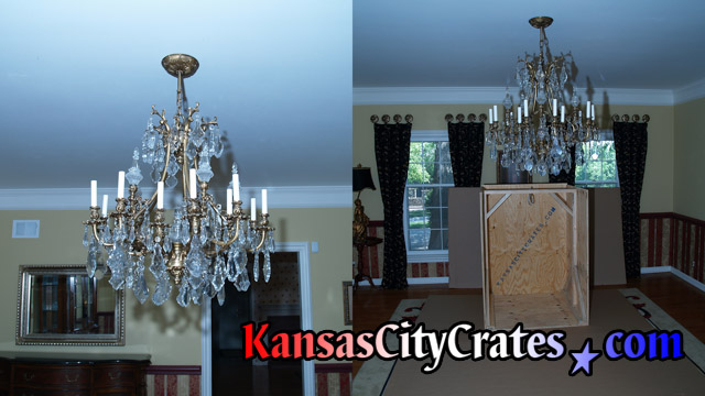 Two views of fine art ormolu gold and lead crystal chandelier before crating at home in Leawood KS  66224