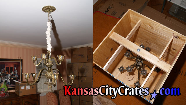 Two views of 9 branch antique chandelier hanging from ceiling and also inside export crate.