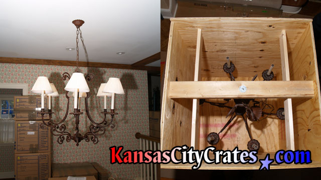 Two views of custom 6 arm iron chandelier hanging from ceiling in dining room and also on suspension bar in export crate.
