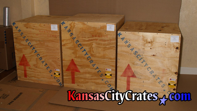 Wooden crates for international shipping of antique chandeliers at home in Kansas City