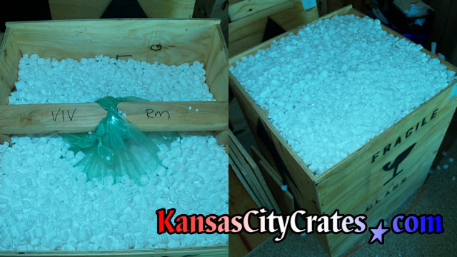 Before and after picture of chandelier crate filled with foam packing peanuts.