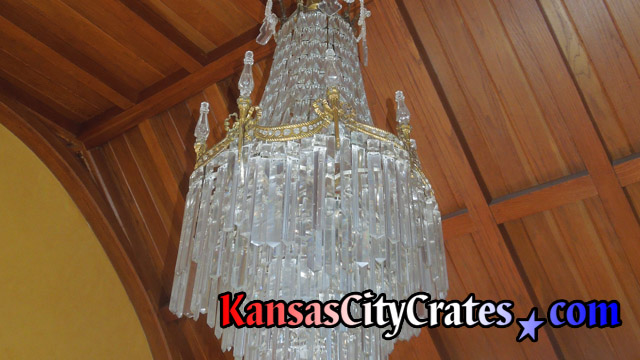 Fine lead crystal waterfall chandelier before removal and crating at home in Overland Park KS  66209