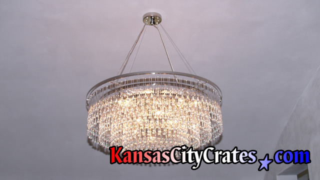 Modern Contemporary Crystal Chandelier before crating at home in Olathe KS 66061