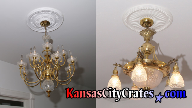 Two brass and crystal chandelier before packing and crating.