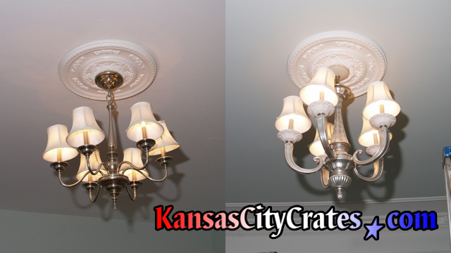 Two Venetian lantern chandeliers in Kansas City home before removal and crating.