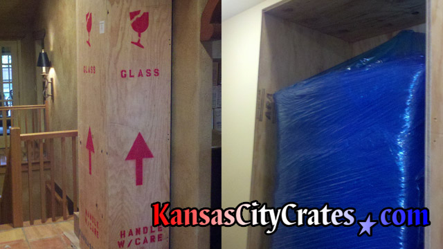 Two views of Sligh Grandfather Clock packed in wooden crate at home in Edgerton KS 66021