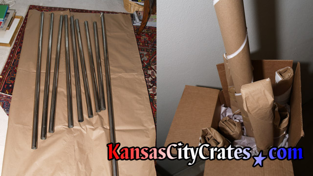 Packing full set of 8 tubular chimes for shipping with export crate.