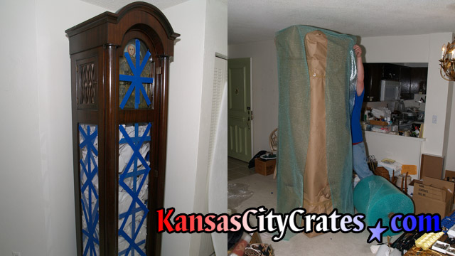 Two views of grandfather clock cabinet preparation for crating after movement is stabilized for transport.