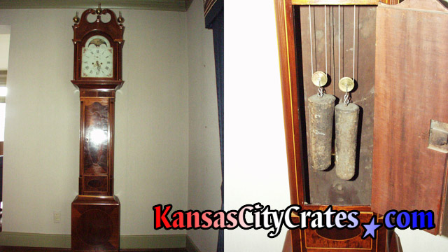 Two views showing mahogany longcase clock and weights by Joakim Hill, Flemington NJ 08822