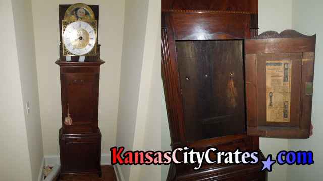 Two views showing antique grandfather clock cabinet with bonnet removed and door open showing points in back of cabinet where it was fastened to the wall.