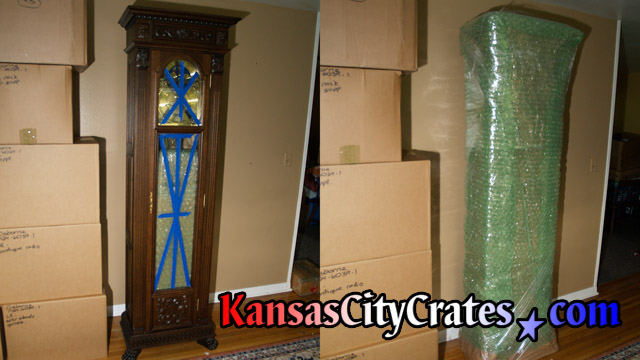 Clock serviced for transport and packing into export crate for shipment to Germany at home in Lansing KS  66043