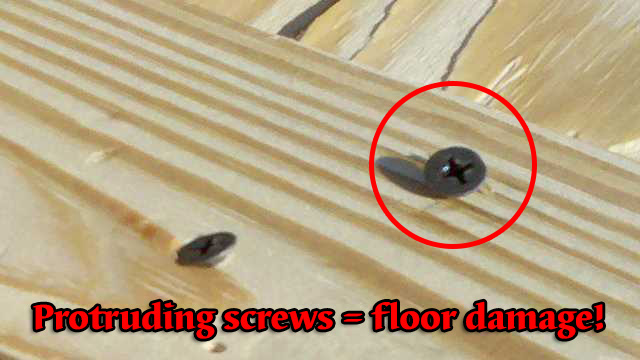 protruding screw heads damage floors and handlers