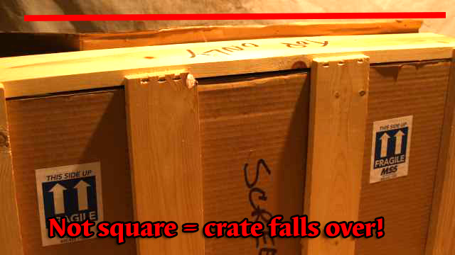 crate not assembled square rocks when set on floor