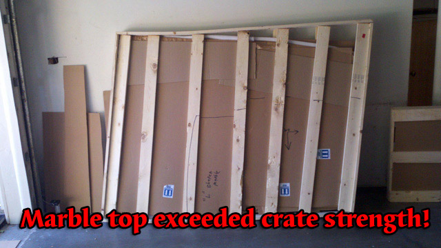 Crate too weak to hold marble top