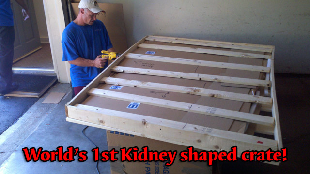 crate with different size boards make it almost kidney shaped