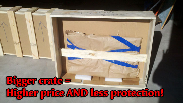 large crate for small item inflates cost to customer